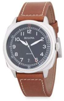 Bulova Stainless Steel Analog Leather-Strap Watch