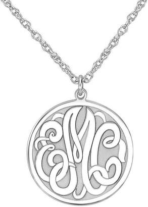 JCPenney FINE JEWELRY Personalized Sterling Silver 20mm Monogram Round Pendant Necklace