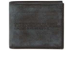 Calvin Klein Distressed Logo Debossed Leather Bi Fold Wallet - Mens - Black