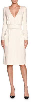 Giorgio Armani Long-Sleeve V-Neck Large-Pocket Dress, White $1,895 thestylecure.com