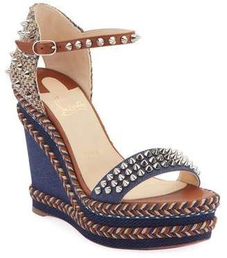 a339a28f8e0 Christian Louboutin Madmonica 120mm Spiked Denim Wedge Red Sole Sandals