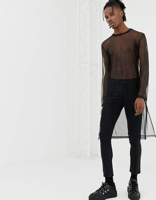 Asos DESIGN relaxed extreme longline long sleeve t-shirt in mesh with split hem