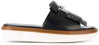 Tod's Double T fringed slides