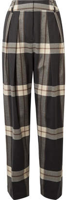 By Malene Birger Lorrany Checked Felt Wide-leg Pants - Charcoal