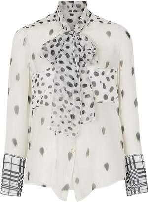 Burberry Dalmatian print pussy-bow blouse