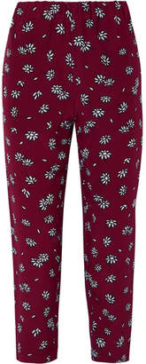 Marni Cropped Floral-print Silk-crepe Slim-leg Pants