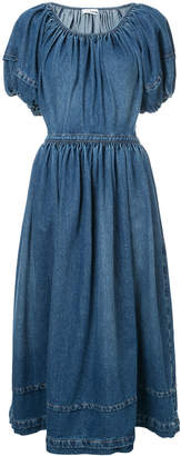 Co puff sleeve denim dress