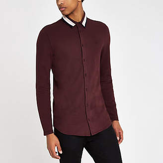 River Island Burgundy muscle fit tape collar button shirt