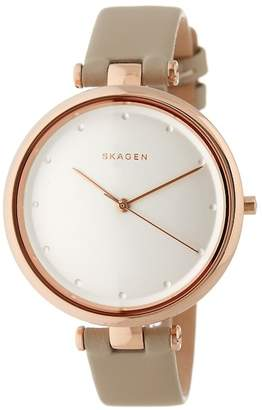 Skagen Womens Tanja Leather Strap Watch, 38mm