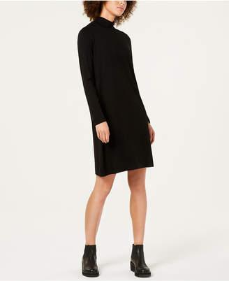 Eileen Fisher Stretch Jersey Long-Sleeve Turtleneck Shift Dress