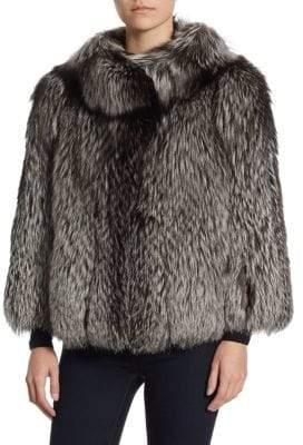 The Fur Salon Round Collar Fox Fur Jacket