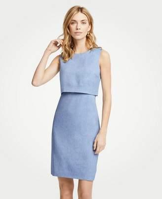 Ann Taylor Linen Blend Overlay Sheath Dress