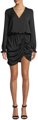 Ramy Brook Alec Ruched Long-Sleeve Mini Dress