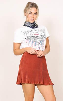 Showpo Golden Plains Skirt in rust metallic