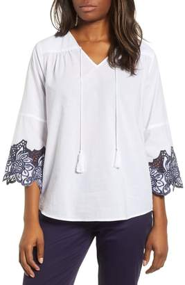 Chaus Bell Sleeve Embroidered Trim Blouse