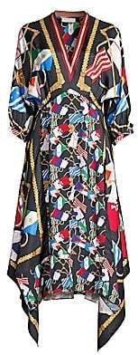 Sandro Women's Lauriane Silk Flag-Print Handkerchief Dress