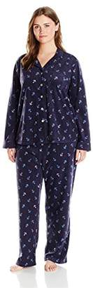 Nautica Women's Plus Size Microfleece Pajama Set