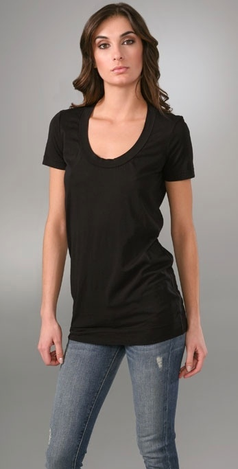 James Perse Short Sleeve Scoop Neck Long T-Shirt