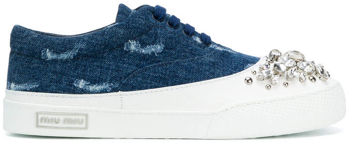 Miu Miu Embellished denim sneakers