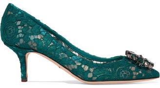 Dolce & Gabbana Crystal-embellished Lace Pumps - Emerald