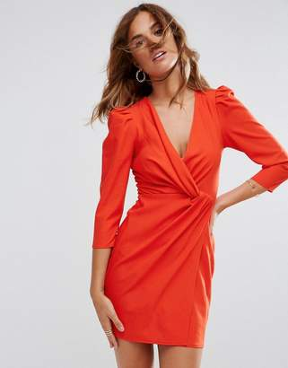 Asos Design Wrap Front Mini Dress