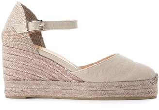 Castaner Carol Light Grey Canvans And Jute Wedge Sandal