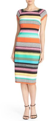 Women's Eci Stripe Pique Midi Sheath Dress $88 thestylecure.com