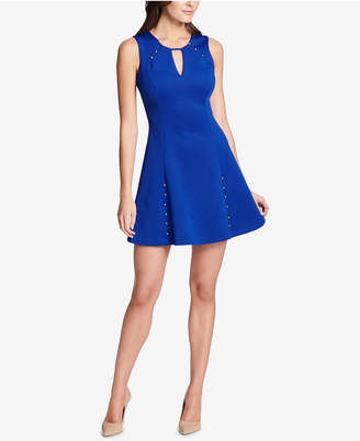 GUESS Embossed Keyhole Dress