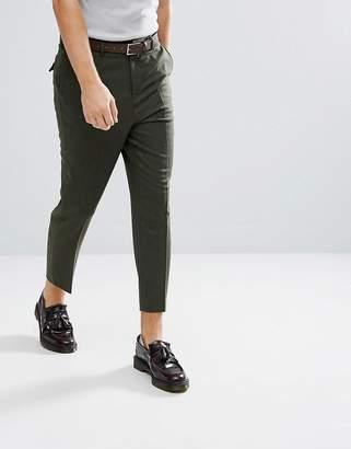 Asos Tapered Smart Pants In Khaki Wool Mix