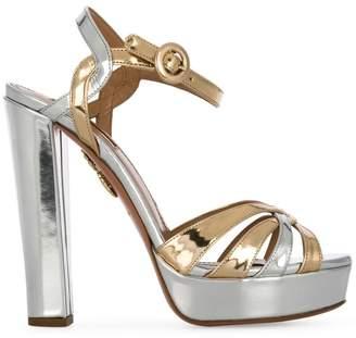 Aquazzura Metallic Love Affair Plateau 130 sandals