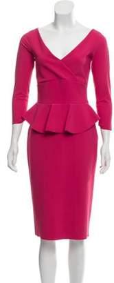 Chiara Boni Peplum-Accented Midi Dress Magenta Peplum-Accented Midi Dress