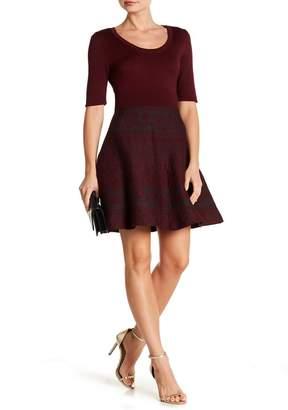 Nina Leonard Scoop Neck Fit & Flare Knit Dress