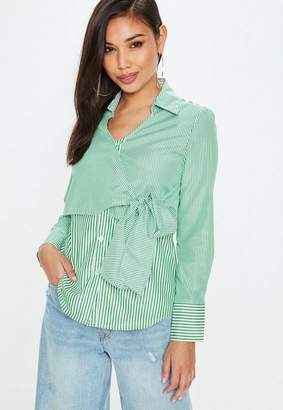Missguided Mixed Stripe Tie Detail Shirt