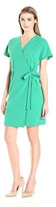 Lark & Ro Women's Short Sleeve Crepe Wrap Dress