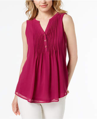 Charter Club Pintucked Sleeveless Top