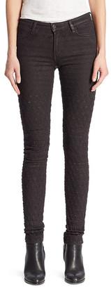 Brockenbow Emma Eggplant Knee Embroidery Skinny Pant