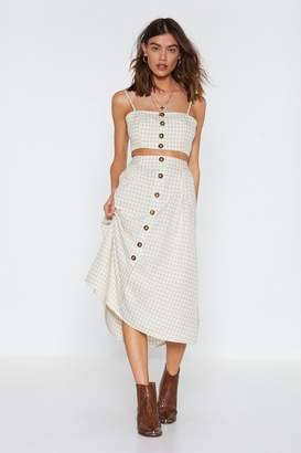 Nasty Gal Two Times the Charm Gingham Crop Top and Midi Skirt Set