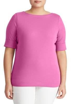 Lauren Ralph Lauren Plus Cotton Boatneck T-Shirt