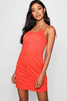 boohoo Erin Button Through Tie Strap Sun Dress