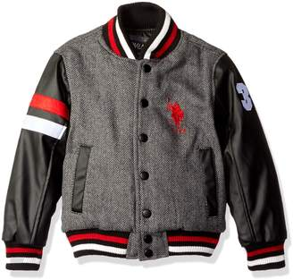 U.S. Polo Assn. Boys' Big Boys' Wool Varsity Jacket with Faux Leather Sleeves