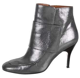 Lanvin Metallic Round-Toe Ankle Boots