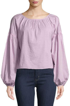 MiH Jeans Anneke Balloon-Sleeve Textured Cotton Top