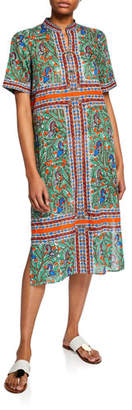 Tory Burch Printed Short-Sleeve Coverup Midi Dress