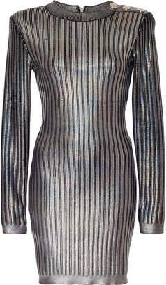 Balmain Textured Holographic Mini Dress