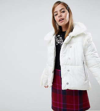 Lost Ink Petite padded jacket with faux fur trim