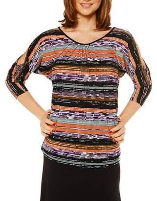 24/7 Comfort Apparel Women's Earthy Stripe Printed Tunic