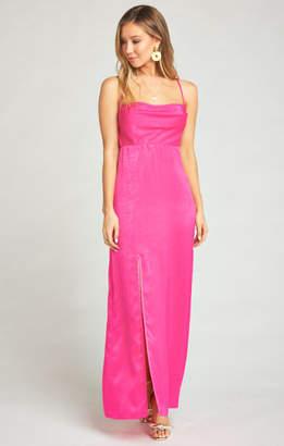 MUMU Winslet Cowl Maxi Dress ~ Flirty Fuchsia Sheen