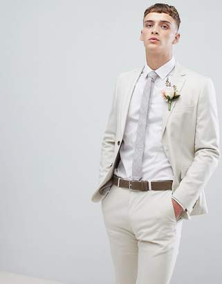 Moss Bros skinny suit jacket in stone