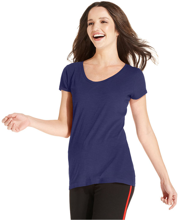 Style&Co. Sport Top, Short-Sleeve Scoop-Neck Solid Tee