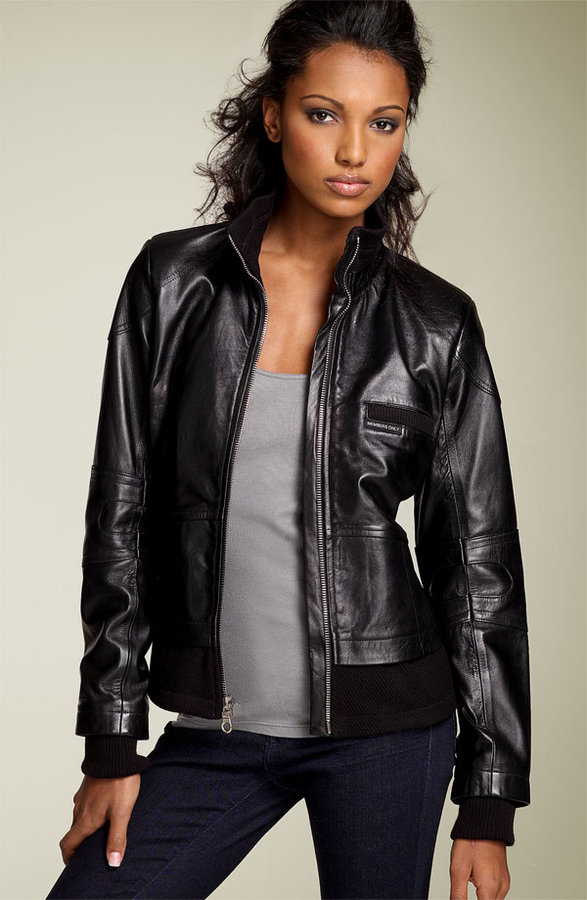Members Only 'Chalet' Leather Motorcycle Jacket
